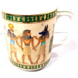 Taza porcelana egipcia Coronación del Faraón