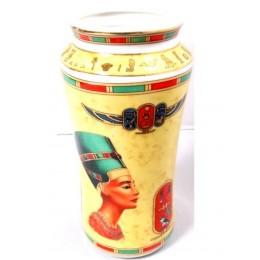 Jarrón de porcelana egipcia La Caza
