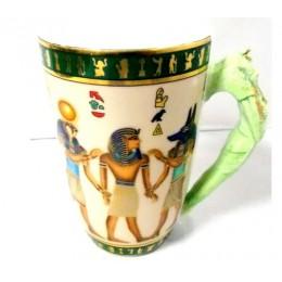 Taza porcelana egipcia larga Coronación del Faraón