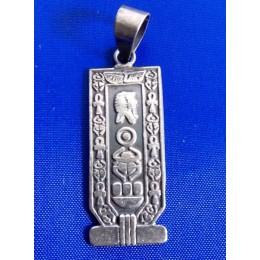 Plata Egipcia colgante cartucho egipcio Amón