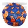 Puff árabe piel Marrón/Azul Grande