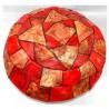 Puff árabe piel Marrón/Rojo Grande