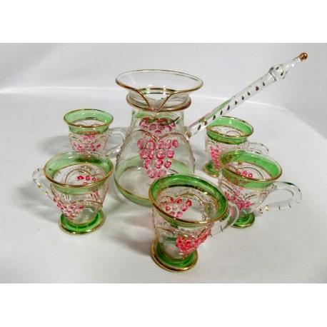 juego té cristal pintado a mano